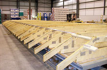 The Roof/Ceiling Build Station in our central Illinois Modular Home Building Facility.
